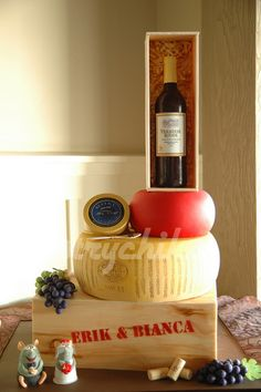 Wine & Cheese Themed Wedding Cake by Pastrychik, via Flickr