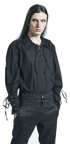 Medieval - Laced Shirt  - lacing on the front - lacing on the sleeves - shirt collar - casual fit  You don't feel like boring t-shirts or jumpers any more? Then this laced shirt of Medieval is the right piece of clothing for you. The medieval garb features a casual and smooth look by the lacing on the front - you won't get restricted by and alleged fashion standards!