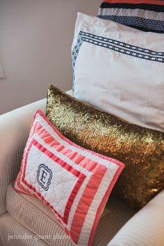 Coral, Navy and Gold Girls Bedroom/ Nursery. Pottery Barn Harper Pillow in Coral Next Bedroom, Girls Bedroom, Bedroom Ideas, Master Bedroom, Bedrooms, Gold Accent Pillows, Gold Pillows, Nursery Room, Girl Nursery