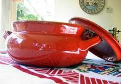 Red spanish cooking pot.  I wouldn't be without it!