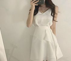 Casual Dresses, Casual Outfits, Girl Outfits, Fashion Dresses, White Fashion, Pop Fashion, Girl Fashion, Pretty Outfits, Cute Outfits