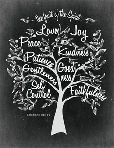 Chalk art style Fruit of the Spirit Digital  wall art  Peace Love Joy graphics of Galatians 5:22 scripture quote for home decoration