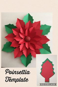 Best 12 Giant paper poinsettia flower template and tutorial by Abbi Kirsten Collections. Christmas Paper Crafts, Christmas Art, Christmas Projects, Holiday Crafts, Christmas Ornaments, Paper Christmas Decorations, Origami Christmas, Christmas Flowers, Reindeer Christmas