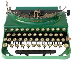 Reminigton Portable No. Miss the sound. Don't miss the white out! Antique Typewriter, Green Home Decor, Aqua, Teal, Slytherin, Shades Of Green, Green Colors, Home Art, Favorite Color