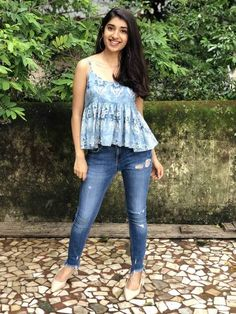 Floral Indigo Hand Block Printed Spaghetti Peplum Top Source by Dresses Cotton Tops For Jeans, Cotton Pants, Cotton Dresses, Frock Fashion, Fashion Outfits, Women's Fashion, Short Kurti Designs, Casual College Outfits, Casual Indian Fashion