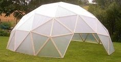 !@! This dude actually explains exaxtly how to build one of them, with different size options. Low cost geodesic dome greenhouse kit
