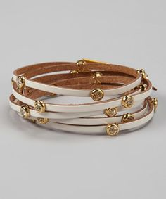Take a look at this Gold & White Leather Sparkle Wrap Bracelet on zulily today!