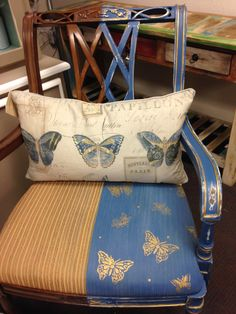A fun chair I did for store to show 'before and after' with Annie Sloan Napoleonic and Aubusson Blues mixed!