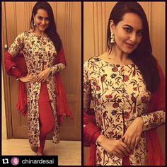 Sonakshi Sinha who recently attended her best friend's wedding, made it a point to look her stunning best at all the functions. Pakistani Formal Dresses, Indian Dresses, Indian Outfits, Western Dresses, Indian Look, Indian Ethnic, Indian Wear, Kashmiri Suits, Anarkali Dress