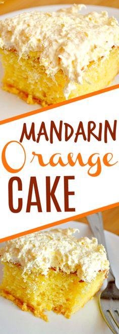 This easy Mandarin Orange Cake recipe makes the perfect dessert, so light and delicious! #cake #dessert #delicious
