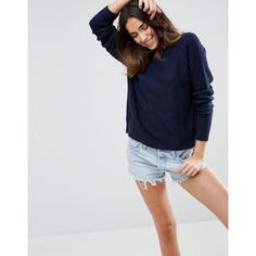 ASOS Jumper In Fluffy Yarn With Crew Neck (469.730 IDR) ❤ liked on Polyvore featuring tops, sweaters, navy, long sleeve crew neck sweater, navy crew neck sweater, tall sweaters, navy sweater and navy blue crew neck sweater