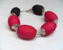 sterling silver bracelet with colored silk cocoons