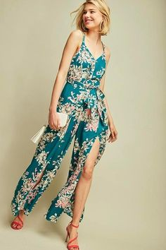 dc94dc3949 Entro Dazzler Floral Criss Cross Back Jumpsuit - Dark Emerald. Playsuits ...