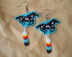 Galloping Horse Beaded Earrings. Feather Dangle. Native American Hand Made. Ndn. Delica Beads. Brick Stitch. Light weight. Southwest Design