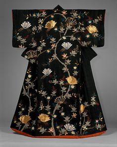 "Woman's Over-Robe (Uchikake) with Design of Mandarin Oranges and Folded Paper Ornaments, late 18th century. Japan. The Metropolitan Museum of Art, New York. Gift of Ilse Bischoff, 1976 (1976.108) | In traditional marriage ceremonies the uchikake is worn over the wedding kimono. On view in ""Kimono: A Modern History"" through January 19, 2015."