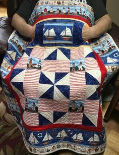 Lighthouse Lovie Lap Quilt with Pockets, great for Father's Day from http://www.HomeSewnByCarolyn.com