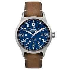 $39.99 Men's Timex Expedition® Scout Watch with Leather Strap - Silver/Blue/Tan TW4B01800JT : Target