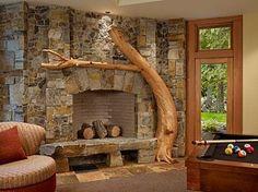 Tree mantle indoors. Great idea.