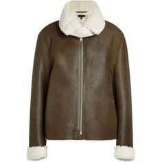 Yeezy Leather Jacket (€1.085) ❤ liked on Polyvore featuring outerwear, jackets, green, brown jacket, genuine leather jackets, oversized leather jacket, 100 leather jacket and real leather jackets