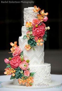 """CindyL - flowers"" wedding cake by Rick Reichart, cakelava"