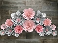 Items similar to Pink and gray set of 14 on Etsy