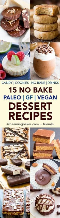 roundup of easy, delicious paleo vegan recipes that are delightfully no bake.roundup of easy, delicious paleo vegan recipes that are delightfully no bake. Dessert Sans Gluten, Vegan Gluten Free Desserts, Low Carb Dessert, Vegan Dessert Recipes, Vegan Treats, Healthy Sweets, Paleo Vegan, Paleo Recipes, Whole Food Recipes