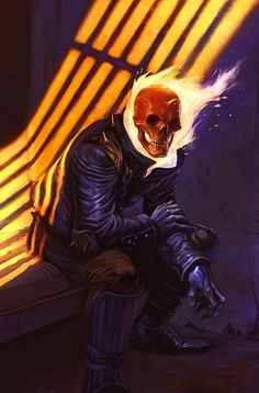 Ghost Rider Cover: Ghost Rider by Tom Fleming Marvel Comics Poster - 61 x 91 cm Marvel Comics Art, Marvel Vs, A Comics, Marvel Heroes, Captain Marvel, Ghost Rider Johnny Blaze, Ghost Rider Marvel, Comic Book Characters, Comic Character