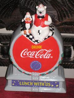 2001 COCA COLA LUNCH WITH US POLAR BEAR & PENGUIN COOKIE JAR