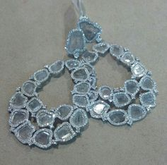 Diamond Slice Statement Earrings, set in 18kt Gold.  #statement #designer #diamondslice