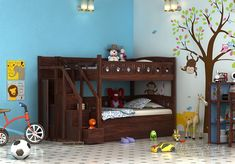 Take a look at Amazing Blossom Bunk Bed @ Wooden Street. This Space Saving Beds is kind of a traditional approach. It is more importantly transitional in nature with some of the traditional details mixed in. Solid Wood Bunk Beds, Wooden Bunk Beds, Kids Bed Design, Girls Room Design, Bunk Bed Sets, Bunk Beds With Storage, Bunk Bed Designs, Kids Bedroom Designs, Toddler Bunk Beds