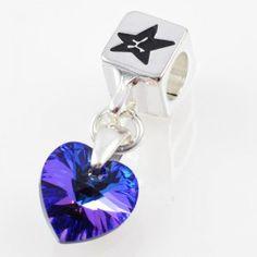 Charm with SWAROVSKI ELEMENTS crystal heart pendant Purple Velvet, silver version http://store.lovya.net/letters-from-your-heart-lovya/332-charm-wiszacy-z-krysztalem-swarovski-elements-serduszko-purple-velvet-wersja-srebrna.html