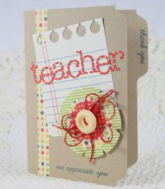 Handmade Greeting Card Teacher Appreciation by EndlessInkHandmade Greeting Cards For Teachers, Teachers Day Card, Teacher Cards, Kids Cards, Greeting Cards Handmade, Teacher Gifts, Scrapbooking, Scrapbook Cards, Teacher Birthday Card