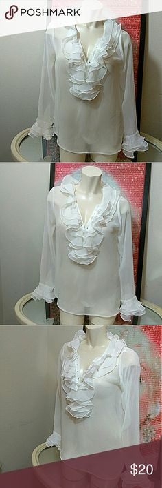 """Romeo & Juliet ruffled blouse Great condition   Pit-Pit laying flat 22"""" Length 26"""" Romeo & Juliet Couture Tops"""
