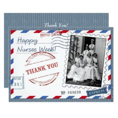 Happy Nurses Week. Vintage design Nurses Week Flat Greeting Cards with customizable greeting. Matching cards, postage stamps and other products available in the oldandclassic store at zazzle.com