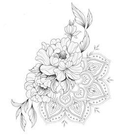 Dotwork Tattoo Mandala, Mandala Flower Tattoos, Mandala Tattoo Design, Flower Tattoo Designs, Cute Tattoos For Women, Shoulder Tattoos For Women, Knee Tattoo, Leg Tattoos, Flower Cover Up Tattoos