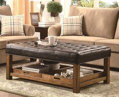 Tufted Leather Ottoman Coffee Table Leathercoffeetables Living Room Design Coffeetabledesign Decoratingideas