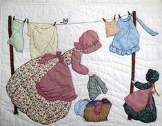 Bonnet Girls wash day, great for a laundry room. Quilt Block Patterns, Applique Patterns, Applique Quilts, Applique Designs, Embroidery Applique, Quilt Blocks, Embroidery Designs, Quilt Baby, Quilting Projects