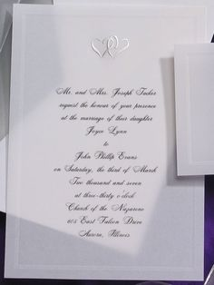 These intertwined classic silver hearts are foil stamped atop your invitation. A romantic and distinctive look! Heart Wedding Invitations, Foil Stamping, Photo Cards, Holiday Cards, Marriage, Hearts, Romantic, Personalized Items, Classic