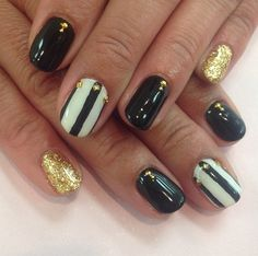Black, White and Gold Nail Design