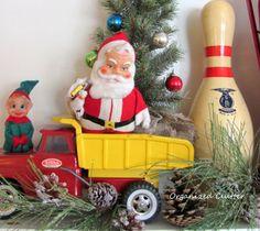 Vintage Toys Christmas Mantel www.organizedclutterqueen.blogspot.com