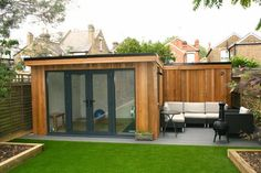 small Garden room THIS IS EXACTLY WHAT I SEE with the space we have in the garden office and corner eating put a dinning table there, and log burner perfect Shedworking Summer House Garden, Home And Garden, Garden Modern, Small Garden Ideas With Summer House, Garden Shed Gym Ideas, Small Garden Cabin, Small Garden Office, Garden Ideas For Small Spaces, Corner Summer House