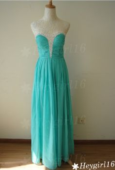Pretty Turqoise Beaded A-line Sweetheart Neckline Floor Length Prom/Bridesmaid Dress
