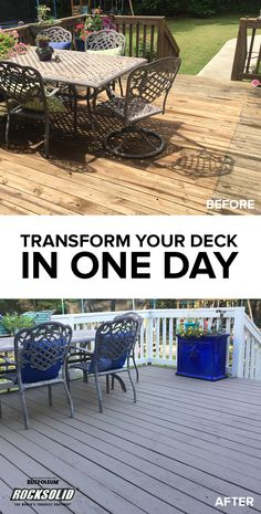 Still waiting for the right weekend to resurface your deck? Beth from UnSkinny Boppy isn't waiting any longer. With Deck in One Day, you need just one day to transform your deck from faded to fresh. Summer's almost here, and your guests will want to enjoy that warm weather from the comfort of the deck. Make sure yours is ready for any graduation, summer holiday or birthday party you're hosting this spring, summer or fall. Get the perfect patio or the deck you desire!