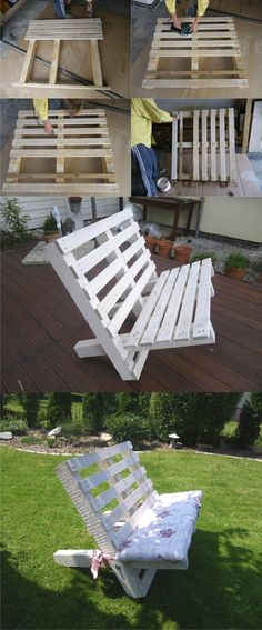 Wooden Pallet Projects A White Bench Created From Two Pallets - Outdoor pallet furniture ideas help you make your backyard into an outdoor living area that you can enjoy with your family. Find the best designs! Wooden Pallet Projects, Wooden Pallet Furniture, Pallet Crafts, Wooden Pallets, Pallet Sofa, Pallet Bench Diy, Pallet Shelves, Small Pallet, Blue Pallets