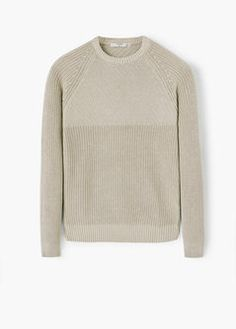 Contrasting knit sweater Ribbed Fabric, Cotton Fabric, Mango Sale, Fishermans Rib, Cable Knit, Knitwear, Contrast, Men Sweater, Knitting