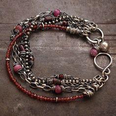 Garnet  bracelets • Chain bracelet • Sterling silver 925 •  Ruby  • link bracelets