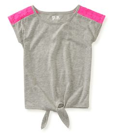 Kids' Lace Pieced Tie-Front Top - PS From Aeropostale