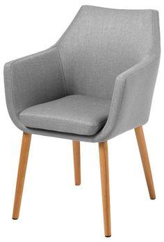 AC design furniture fauteuil trine 60350-58 x 58 x 84 cm, assise et dossier en corsica, tissu gris clair