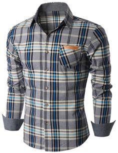 Doublju Men's Long Sleeve Check Print Shirts (KMTSTL0174) #doublju