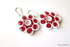 Quilling Earrings in Red and White, Earrings with Quilled Elements, Quilled Paper Earrings, Quilling Jewelry